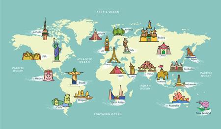 Mapa świata ze znakiem Famous Country Symbol