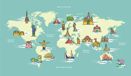 World Map with Landmark of Famous Country Symbol