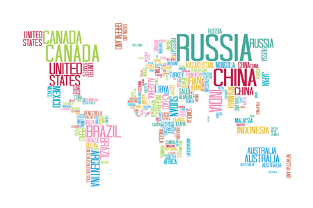 World map with countries name text or typography ilustraciones world map with countries name text or typography with colorful color separate by country gumiabroncs Choice Image