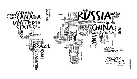 World Map with Countries name Text or Typography, Hand drawn sketch style Illustration