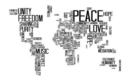 Vrede concept, tekst of typografie met liefde, geluk en vrede formulering in vorm van de wereld kaart