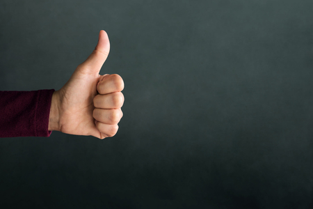 Customer Experience Concept, Hand of Client show Excellent sign with Thumb up for Rating in Satisfaction Survey, Symbol of Meaning Great