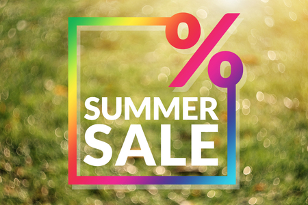 Summer Sale Promotion Template. Copy Space for Numbers of Percentage, Colorful Border. Brighten and Vivid Bokeh as background