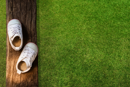 Children Learn Beyond Classroom Concept, Kids Shoes Lay on the Wooden Timber, Green Field in Park as background, Top view