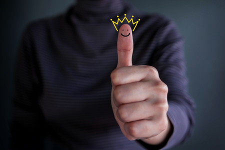 Customer Experience Concept, Best Excellent Services Rating for Satisfaction present by Thumb of Happy Client with Crown and Smiling Face icon