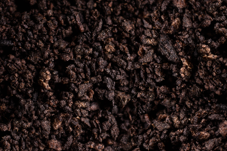 Dark Brown Soil Texture Background. Closeup Macro Shot