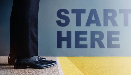 Start Concept. Low Section of Businessman on Formal Business Dress Standing at Start Line, Get Ready to Moving Forward. Cropped Image. Side View Stock fotó