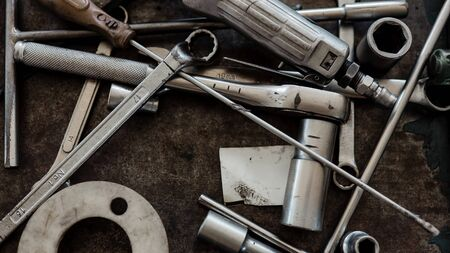 Top View of Mechanic Tools at the Garage. Engineer, Craftsman Toolbox. Selective Focus