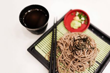 Cold Soba Noodle in the Restaurant. Traditional Pasta Food of Japan, Made from Buckwheat. Selective Focus, Top View Stock fotó