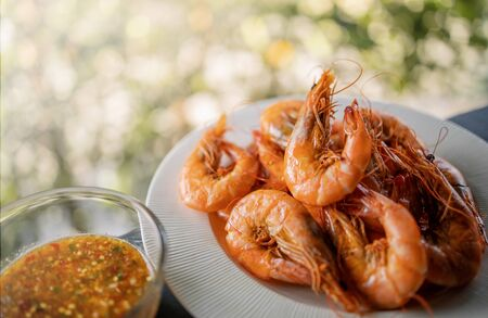 Fresh Shrimp in the Pan. Cooking Thai Food. Steamed Prawn