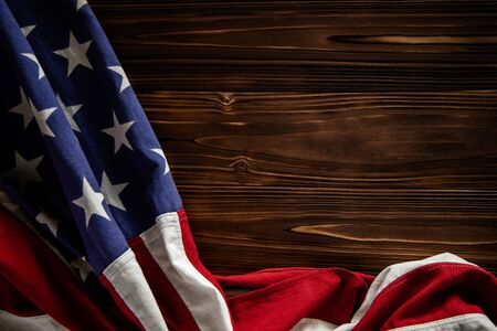 USA Flag Lying on Wooden Background. American Symbolic. 4th of July or Memorial Day of United States. Copy Space for Text Imagens - 150262610