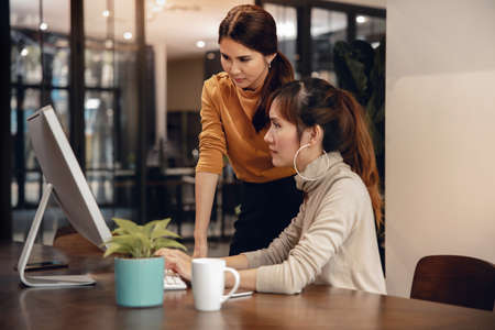 Two Business Woman Working on Computer in Modern Office. Female Boss and Employee