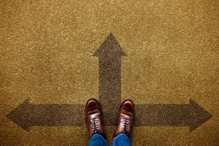Decision in Life or Business Concept. Undecided Person Standing on the Forward, Left and Right Arrow Direction. Top View