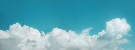 Clouds in the Blue Sky on Sunny Day, Nature Scenery with a Good Weather. Looking Up Shot. Long and Wide Screen Imagens
