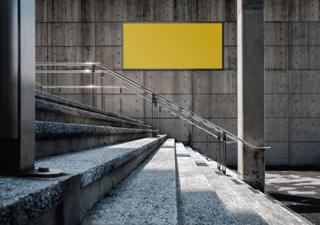 Blank Board for Mockup. Empty Horizontal Poster on the Concrete Wall. Outdoor Scene, Modern Industrial Loft Building.