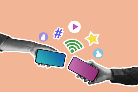 Social Media Concept. Internet Connection in Smartphone. Technology that Help People to Keep their Good Relationship. Collage Retro Style Imagens