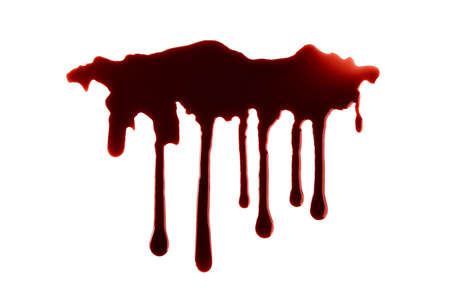 Blood Dripping with Clipping Path Isolated on White background. Halloween Concept Фото со стока