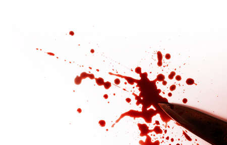 Halloween Concept. Crime or Accident Scene, Knife with Red Blood lay on White background