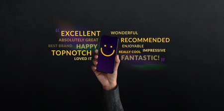 Customer Experiences Concept. person Raised Up a Mobile Phone with Smiling Face Emoticon. Surrounded by Wordings of Positive Review Feedback. Client Satisfaction Surveys Standard-Bild - 156318877