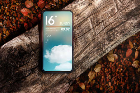 Good Weather on Sunny Day in Fall and Autumn Concept. Mobile Phone with Weather Information. Mobile Phone Lay on Timber. Red Foliages as background, Top View 版權商用圖片