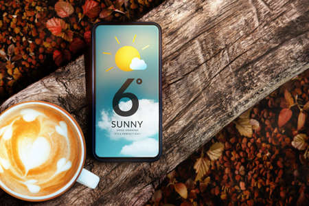 Good Weather on Sunny Day in Fall and Autumn Concept. Mobile Phone with Weather Information. Mobile Phone and Hot Morning Coffee on Timber. Top View