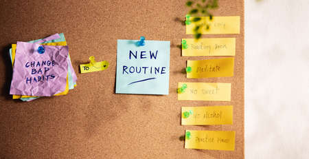 Change Concept. Managing New Routine from Old to New Habits by Sticky Note on Cork Board