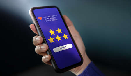 Customer Experiences Concept. Woman Using Mobile Phone to Giving Feedback via the Internet. Positive Review. Friends Recommended. Client Satisfaction Surveys