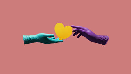 Love and Relationship during Coronavirus Concept. Valentines Day. Two Hands with Medical Glove giving a Heart Symbol. floating over Colorful Pop Color background