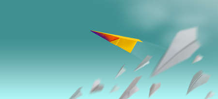 Different, Leader Individuality Concept. Unique Paper Plane Flying Up in the Sky while The Group of Failure is Falling Down. Business Metaphor Photo