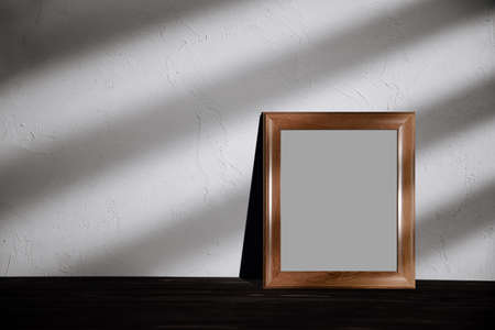 Photo Frame Mockup Image. Included Clipping Path. Frame is on the Floor in House with Sunlight Shade