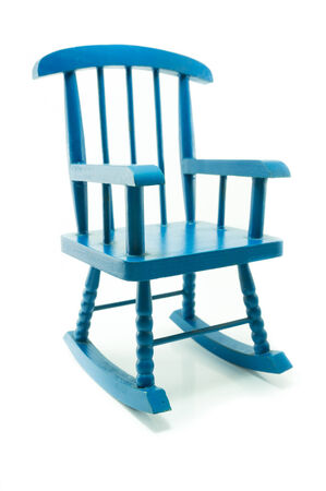 vintage blue rocking chair in white background photo