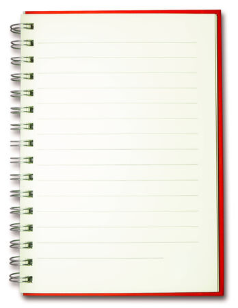 blank plain line spiral red cover notebook isolated on white background photo