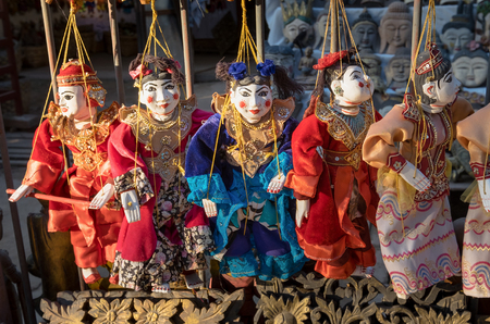 Traditional handicraft puppets souvenir in Mandalay, Myanmar