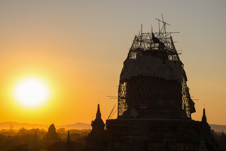 Renovation of pagoda in Bagan, Myanmar after big earthquake in 2016