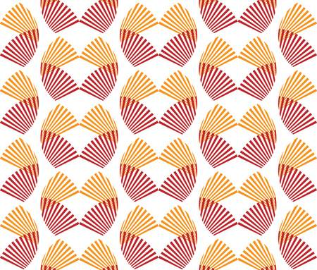 Abstract seamless pattern red and orange fan shape Japanese style. Circular geometric shape with the radial line isolated on white background. Vector illustration.