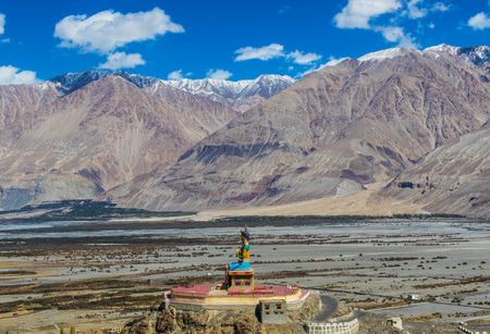 Leh, Ladakh - India - Along the Indus Valley, right at the border with Pakistan and China, between monasteries, rivers, lakes, and blue skies Stock Photo