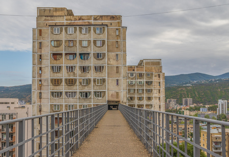 Tbilis, Georgia - in the Georgian capital is possible to find many examples of soviet architecture and landmarks. Here in particular a residential building just outside the Old Town 版權商用圖片