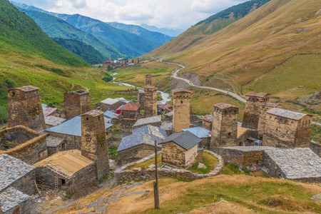 The Svaneti region is one of the most impressive exemple of the Georgian stunning beauty. Here the village of Chazhashi, a Unesco World Heritage site 版權商用圖片