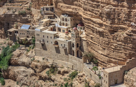 Jericho, Israel - the St. George Orthodox Monastery is one of the main orthodox churches in Israel. Here in particular the monastery seen from the top of the canyon