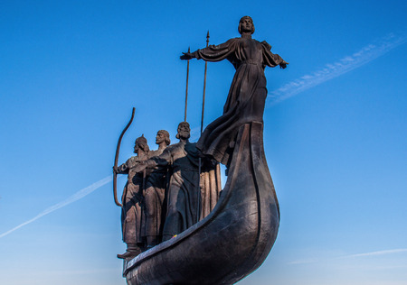 Kiev, Ukraine - like in many other former URSS countries, Kiev presents a countless number of bronze or marble statues all around the city. Heres the Kyiv Founders Monument