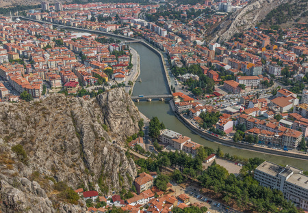 Amasya, Turkey - Amasya is known the typical Ottoman buildings. Here in particular a glimpse at the Old Town seen from the surrounding hills