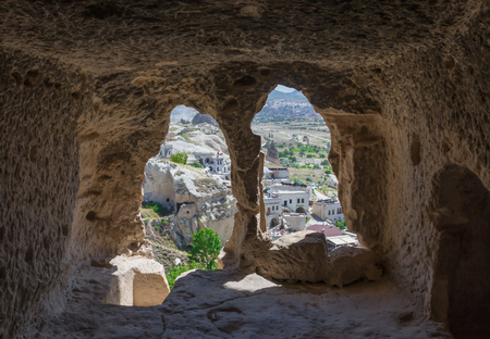 Goreme, Turkey - A Unesco World Heritage site, Cappadocia is famous for its fairy chimneys, churches and castles carved in the rock, and a unique heritage. Here in particular one of the amazing carved churches Editorial