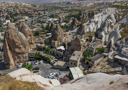 Goreme, Turkey - A Unesco World Heritage site, Cappadocia is famous for its fairy chimneys, churches and castles carved in the rock, and a unique heritage Stock Photo