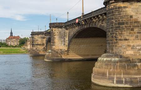 Dresden, Germany - the Elbe River cuts Dresden in two halves, and its one the main landmarks of the city. Here in particular the wonderful Augustus Bridge