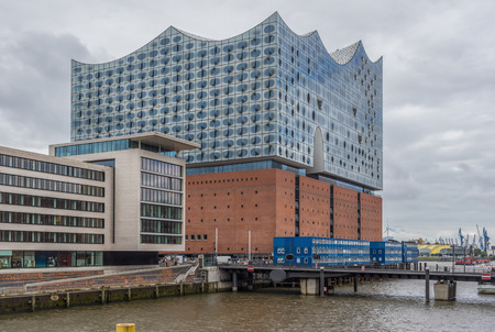Hamburg, Germany - sitting on top of an old warehouse building, the Elbphilharmonie is the most famous concert hall in Hamburg. Here in particular a look at its unique shape Publikacyjne
