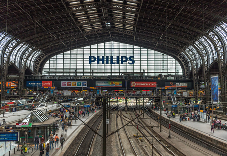 Hamburg, Germany - busiest train station in Germany and second busiest in Europe, the Hamburg Hauptbahnhof is a recognizable landmark in Hamburg with its iron structure