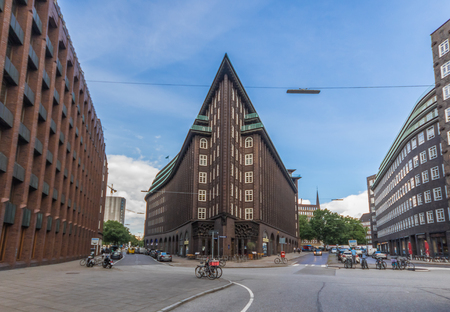 Hamburg, Germany - the Chilehaus is a ten-story office building in Hamburg, and one of the few examples of the 1920s Brick Expressionism style of architecture. Here in particular its peculiar shape Publikacyjne