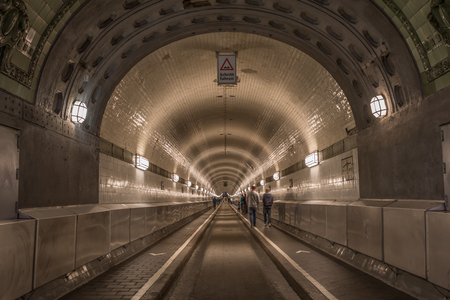 Hamburg, Germany - opened in 1911, located 24 meters under the water surface, and more than 400 meters long, the Elbe Tunnel is a technical masterpiece