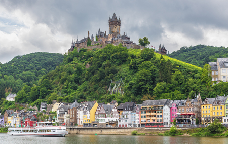 Cochem, Germany - on the left bank of the Moselle river, the Cochem Imperial castle is a fine example of Gothic architecture and one of the most beautiful castles of Moselle valley