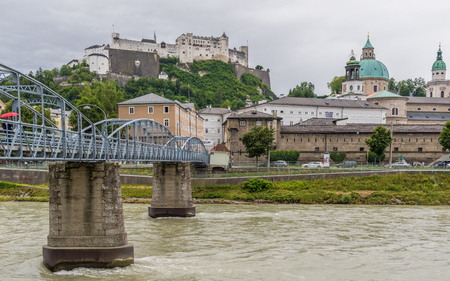 Salzburg, Austria -  a UNESCO World Heritage Site, Salzburg is divided in two halves by the Untersberg river, and connected by several wonderful bridges